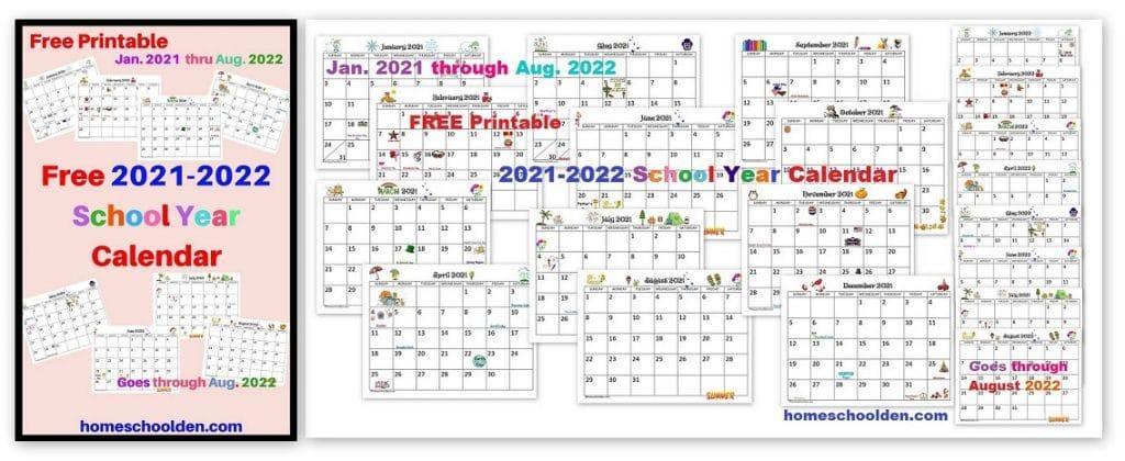 Free 2021 2022 Calendar Printable – Homeschool Den In Billings School District 2 Calendar For 2021 2022