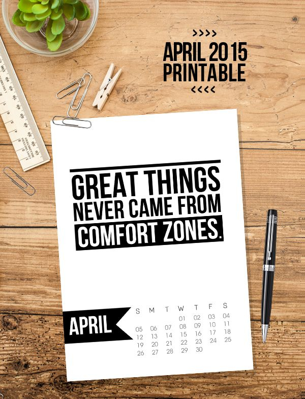 Free 5X7 Printable Calendar For April 2015 With Within April Quotes And Sayings For Calendars