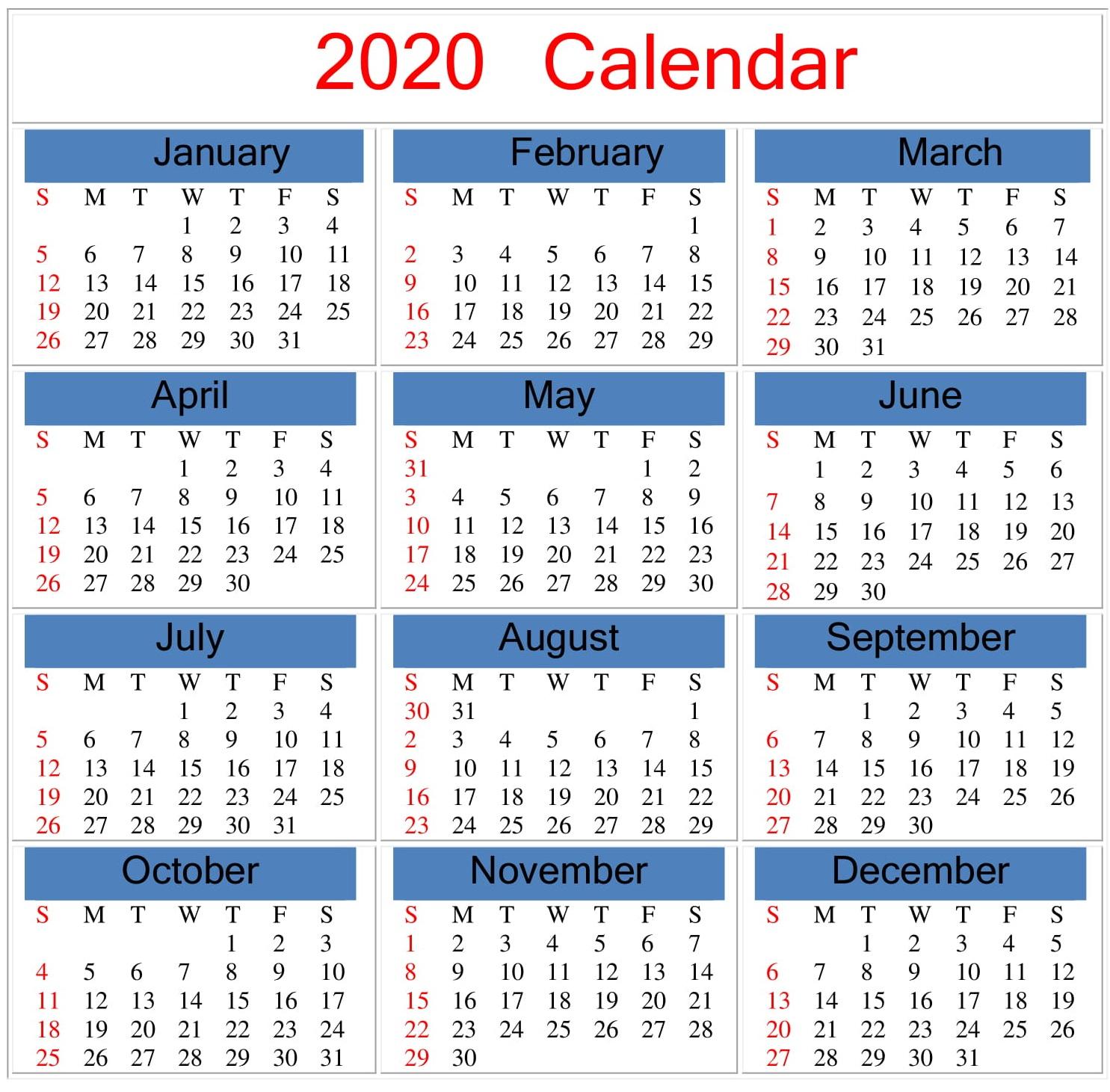 Free Printable 2020 Calendar Word, Pdf, Excel Document Intended For Gregorian & Am & Julian Calendar 2022
