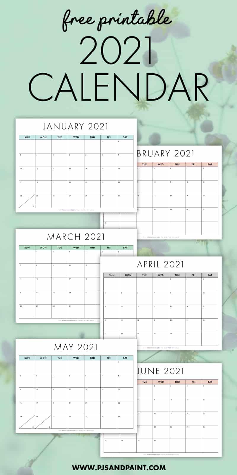 Free Printable 2021 Calendar – Sunday Start – Pjs And Paint Regarding Printable Sunrise And Sunset Calander 2021