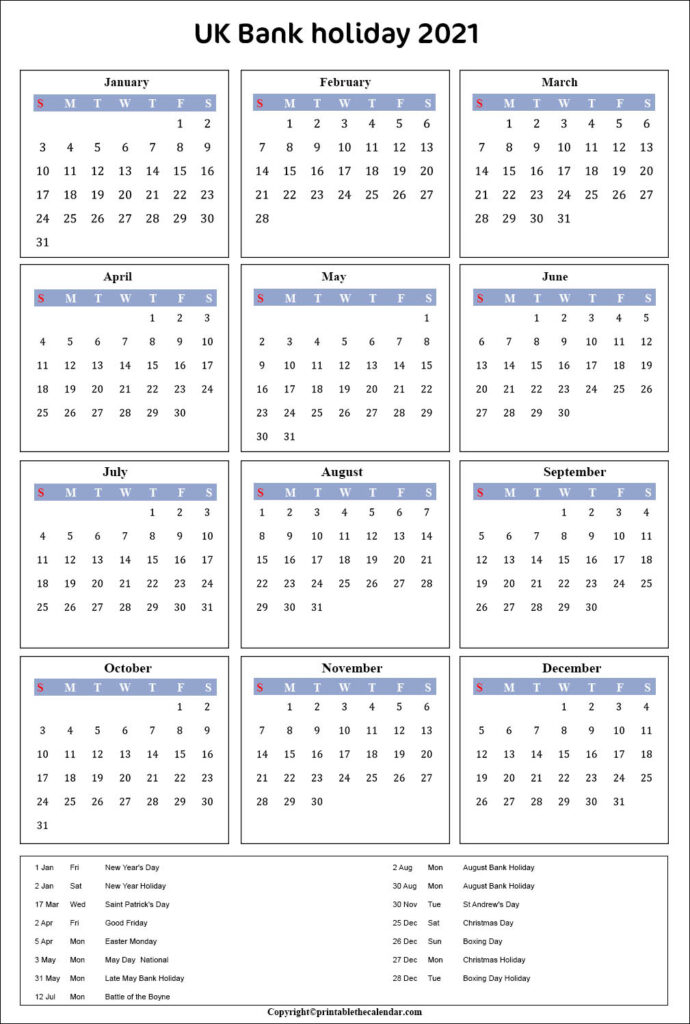 Free Printable 2021 Calendar With Bank Holidays intended for Every Day Is A Holiday Calendar 2021 Printable