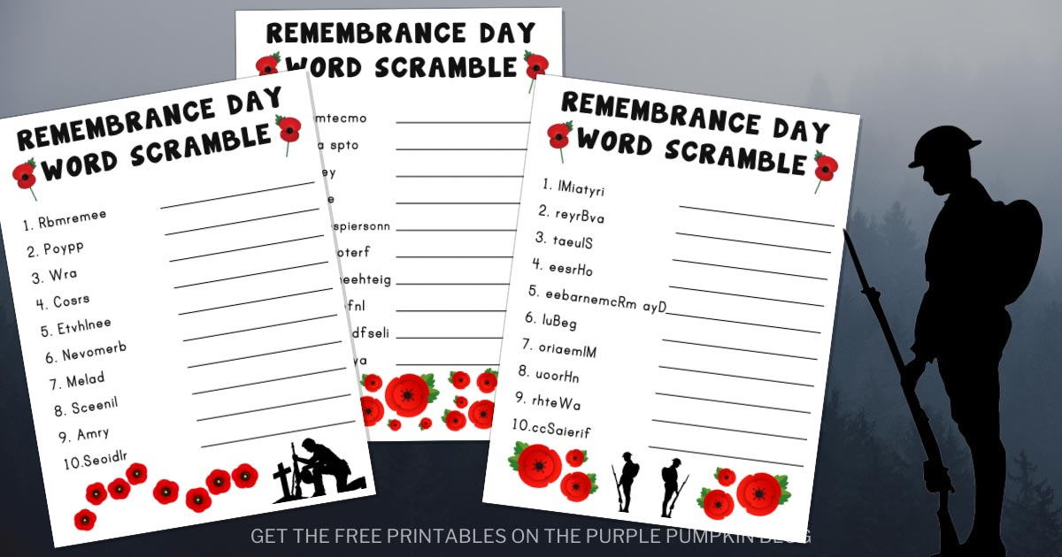 Free Printable Remembrance Day Word Scrambles To Solve For Word Of The Day Pfrint