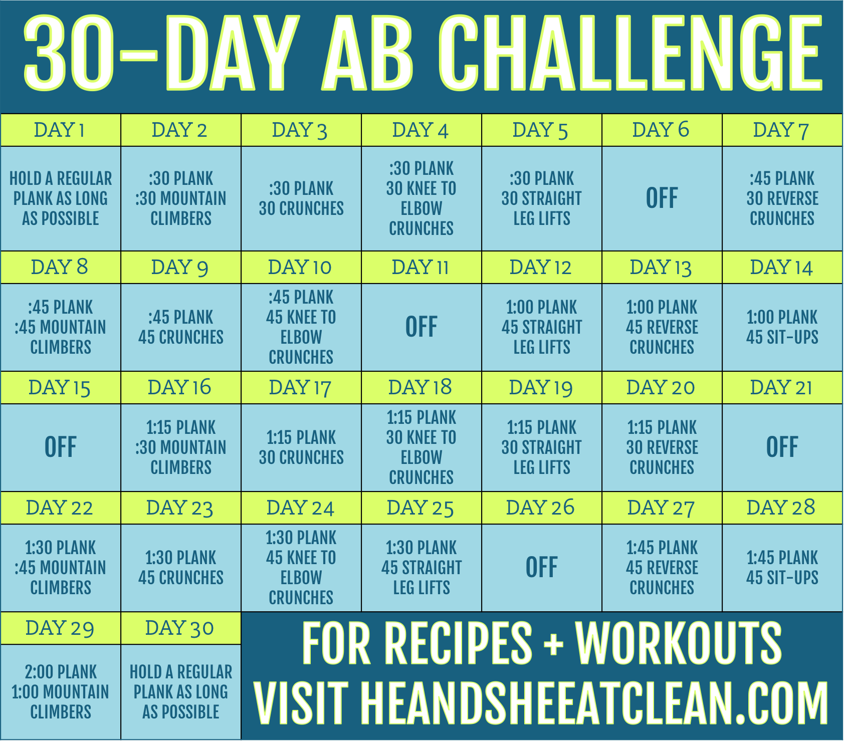 Full Body Workout: March Madness Fitness Challenge Within 30Days Abs Challenge Printable