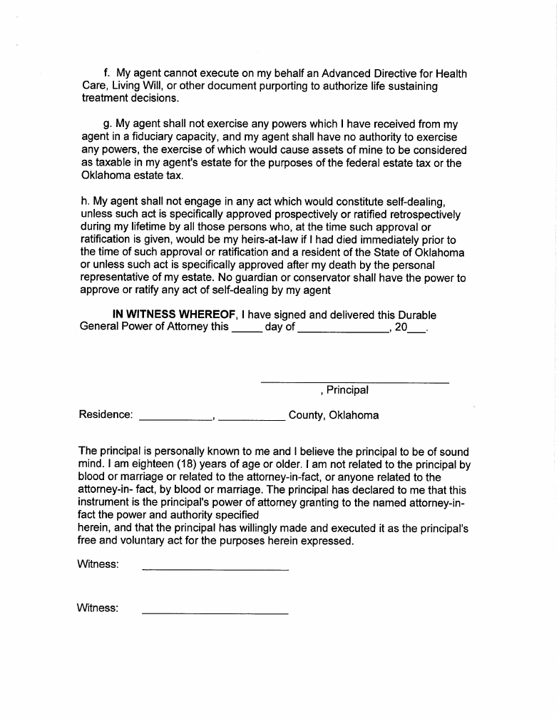 General Durable Power Of Attorney – Oklahoma Free Download Intended For Texas Attorney General Holiday Schedule 2021
