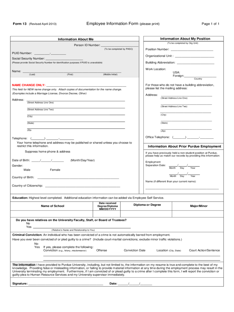 General Employee Information Form - 3 Free Templates In For Texas Attorney General Holiday Schedule 2021