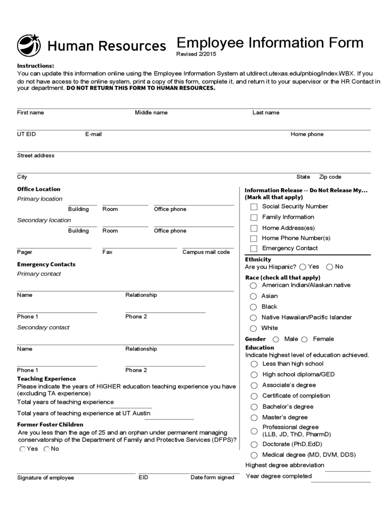 General Employee Information Form - 3 Free Templates In Regarding Texas Attorney General Holiday Schedule 2021