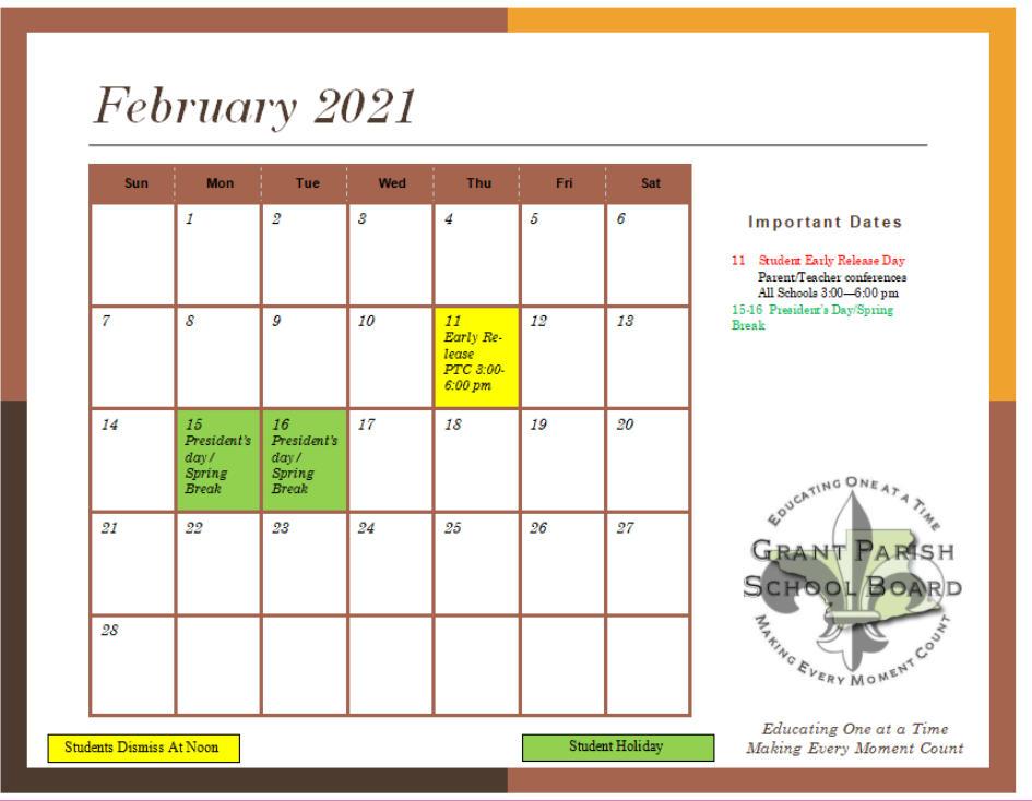Grant Parish School Board 2020 2021 February Calendar Intended For Lodi School District Calendar 2021