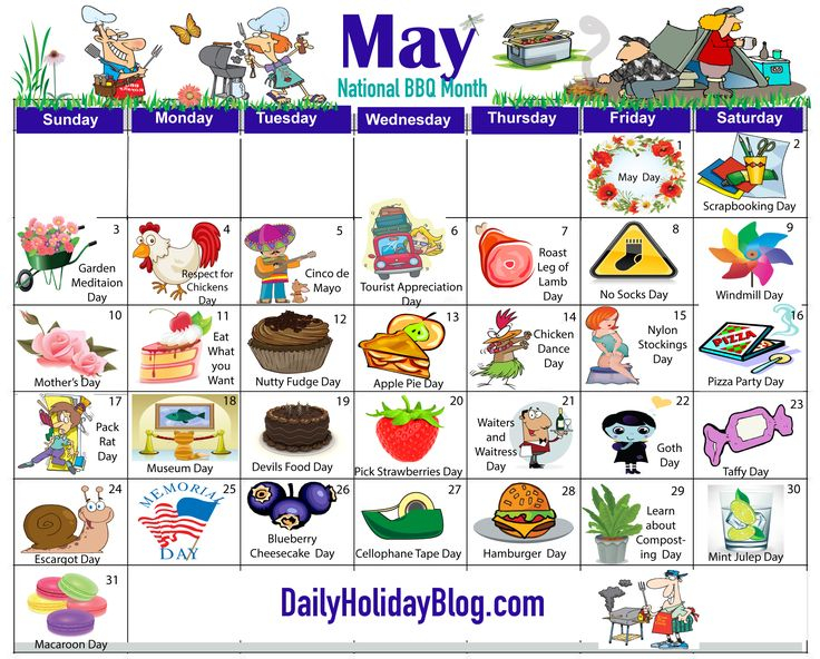 Happy May Day – Here Is A Calendar So You Can Celebrate Every Day This Month. We Are Always Here Throughout Every Holiday Calendr