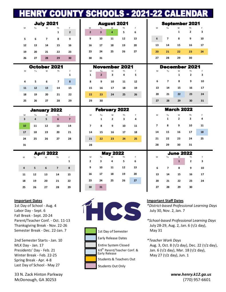 Henry County Schools Calendar 2021 2022 In Pdf With 2021 2022 Aiken County Public School Calendar