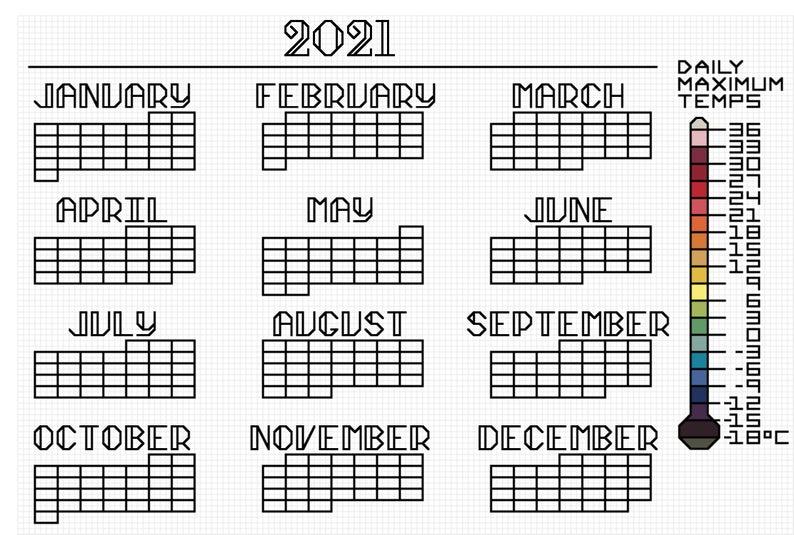 High Temperature Calendar Cross Stitch Pattern 2021 | Etsy Regarding 454 Calendar 2021