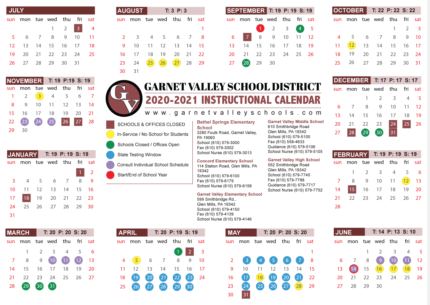 Home - Garnet Valley School District in Garnet Valley School Calendar 2022