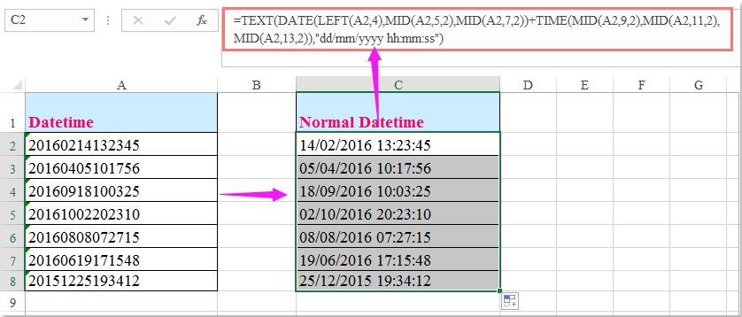 How To Convert Yyyymmddhhmmss Date Format To Normal With Change Excel Data To Calendar View