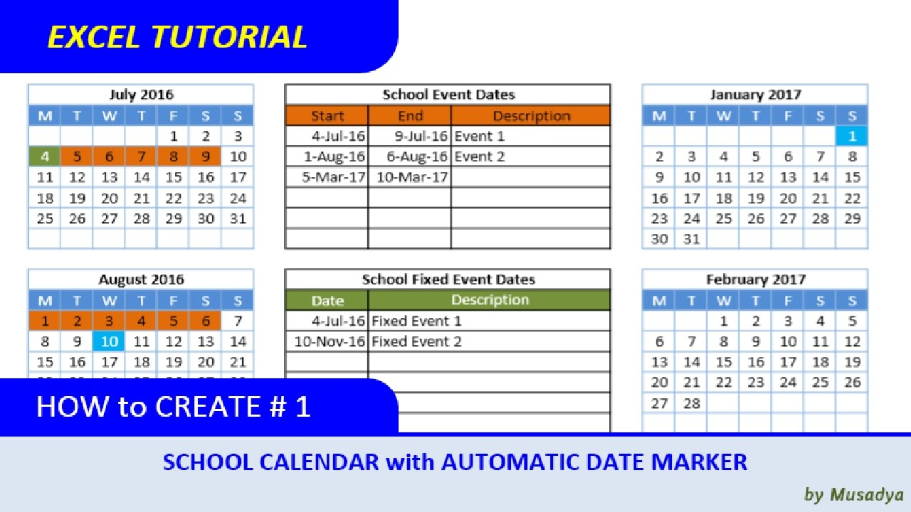 How To Create Excel School Calendar With Automatic Date Inside Excel Data To Calendar