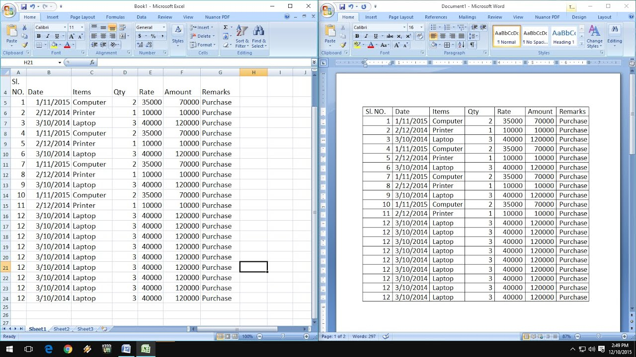 How To Exact Copy & Paste Excel Data Into Word Table – Youtube Inside How To Convert Excel Data Into A Calendar In Excel