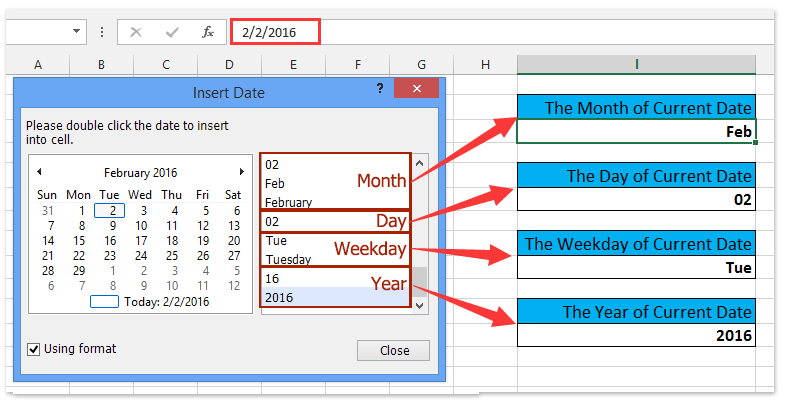 How To Insert Current Day Or Month Or Year Into Cell Intended For Convert Excel Into Word Calendar