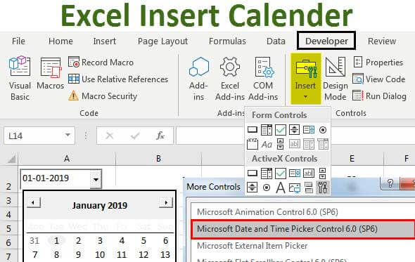 Insert Calendar In Excel | Top Examples To Create & Insert Throughout Calendar Drop Down Excel Template