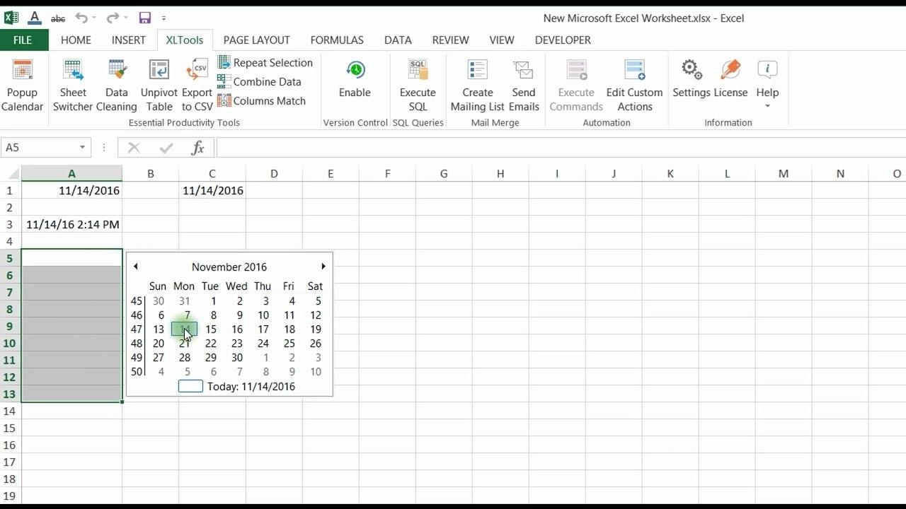 Insert Date Picker Drop Down Menu In Excel 2020 | Calendar in Excel Data To Calendar
