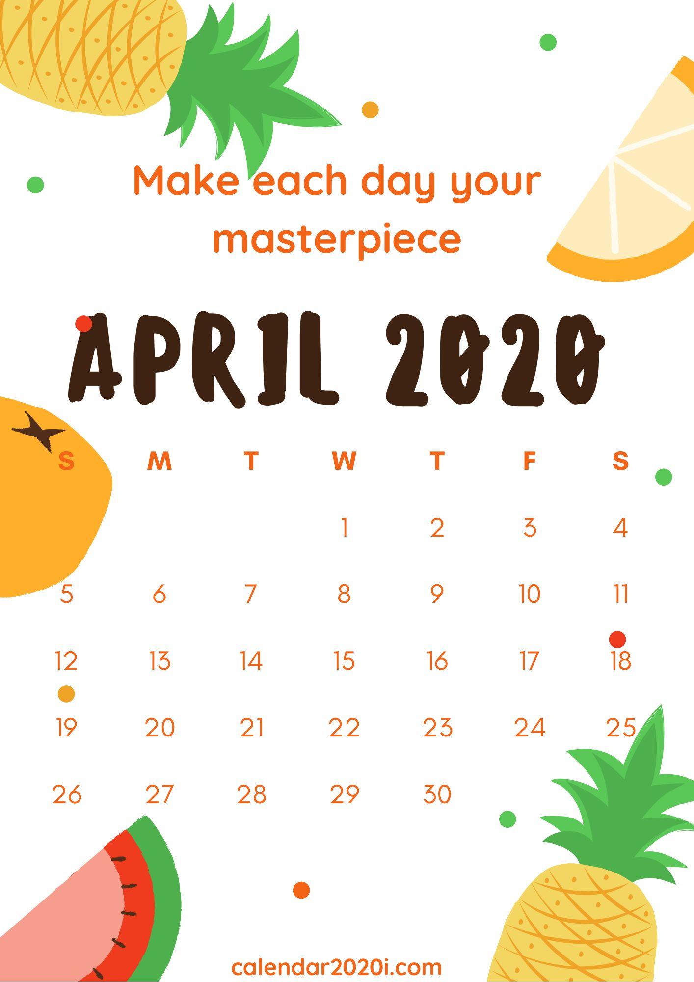 Inspiring April 2020 Calendar With Quotes   Calendar 2020 Inside April Quotes And Sayings For Calendars