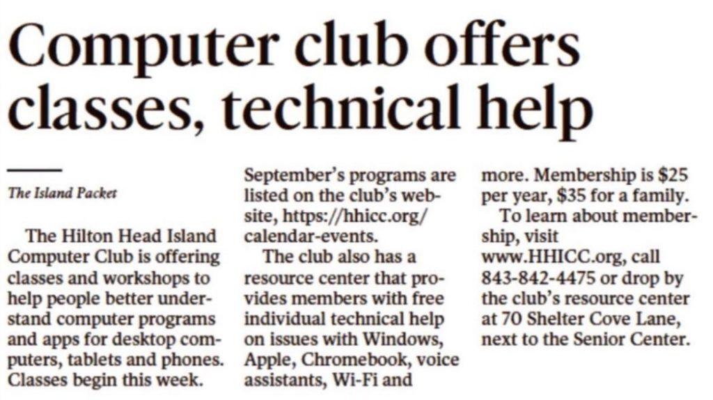 Ip 2019-09-10 _ Hhicc Wide | Hilton Head Island Computer Club with regard to Sun City Hilton Head Calendar 2021