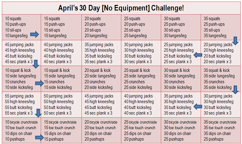 Join My 30 Day No Equipment Challenge!   30 Day Workout With Regard To April Fitness Challenge