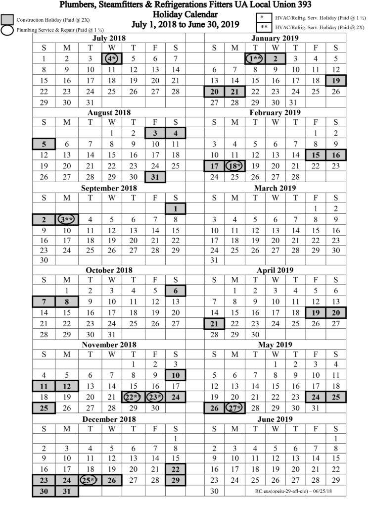 July 1, 2018 – June 30, 2021 Holiday Calendar | Local 393 In Mexican Calendar Saint Names 2021