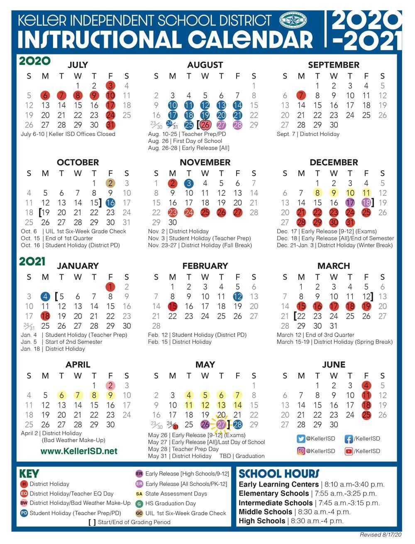 Keller Isd 2021 2022 Calendar | 2021 Calendar With Regard To L Victorville School Distict Canlendar 2020 2021 For What Schools