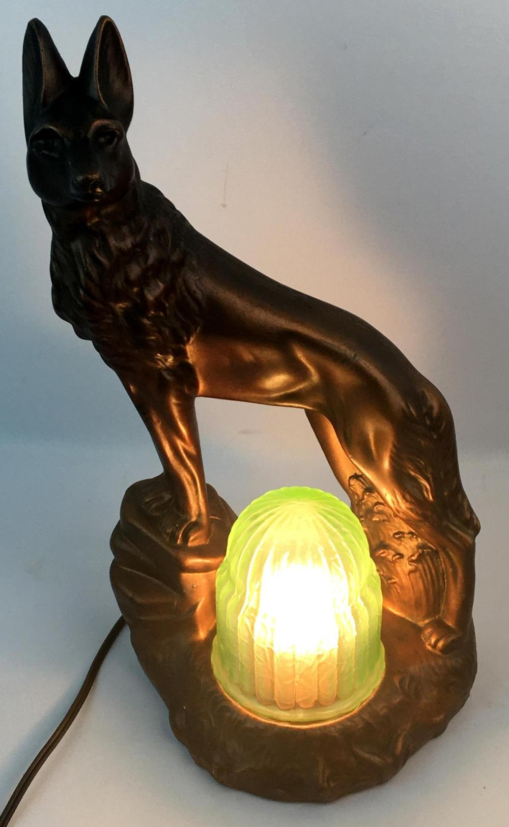 Lot – Vintage C. 1930 Art Deco Chalkware Dog Console Lamp Within 60 Calendar Days Back From Today