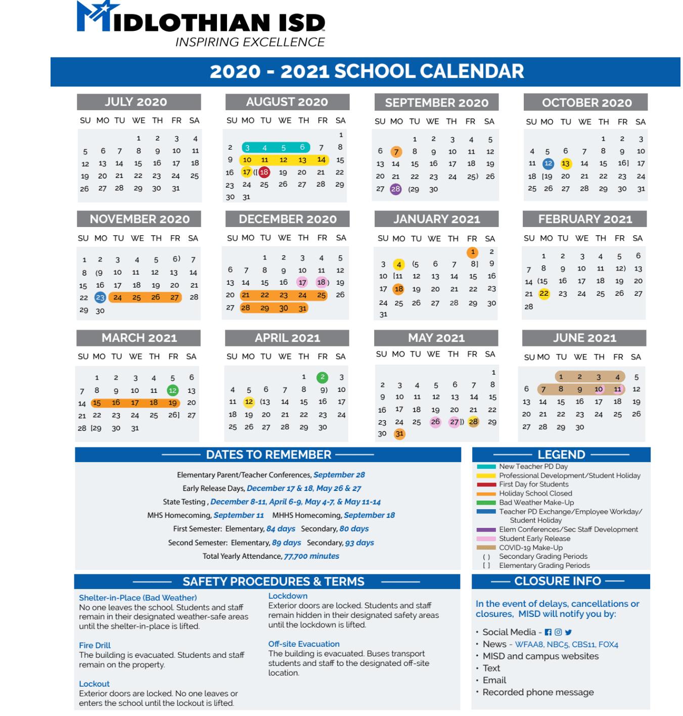 Midlothian Isd 2021 2022 Calendar | Printable March Throughout Texas Tech School Calendar 2020 2021