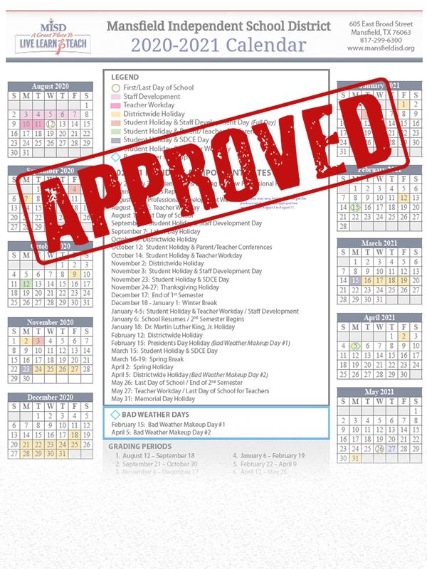 Misd School Board Approves 2020 21 Calendar   Misd Inside Fort Worth Isd Calendar 2021