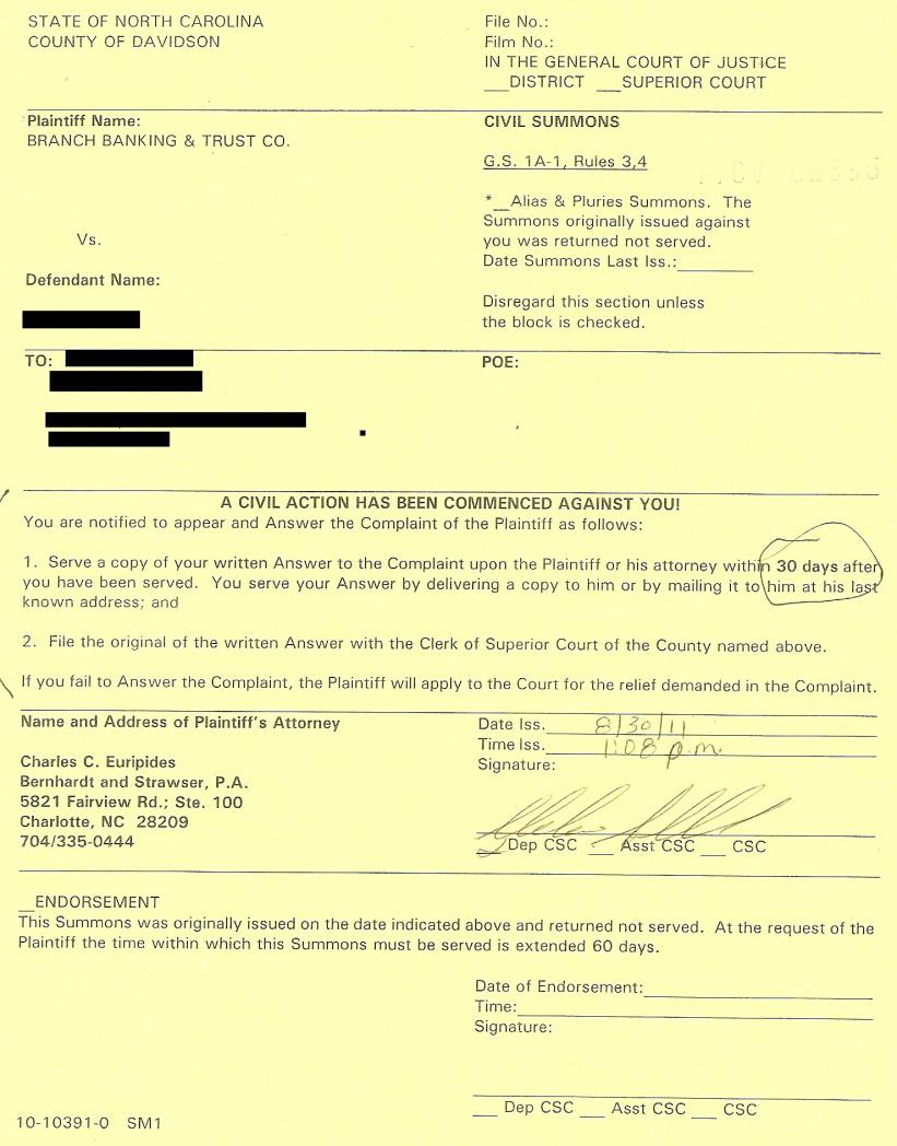 Need Help Answering A Nc Civil Summons (Please) - Is There inside Nc Court Date By Defendant