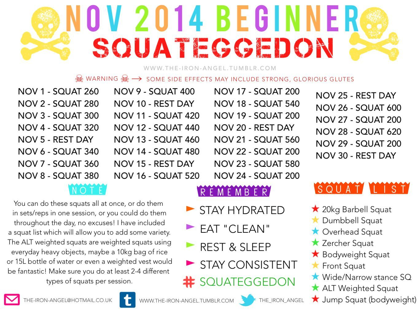 Nov.2014. Squateggedon   Holiday Fitness Motivation, Squat Pertaining To Squat Challenge For Beginners Printable