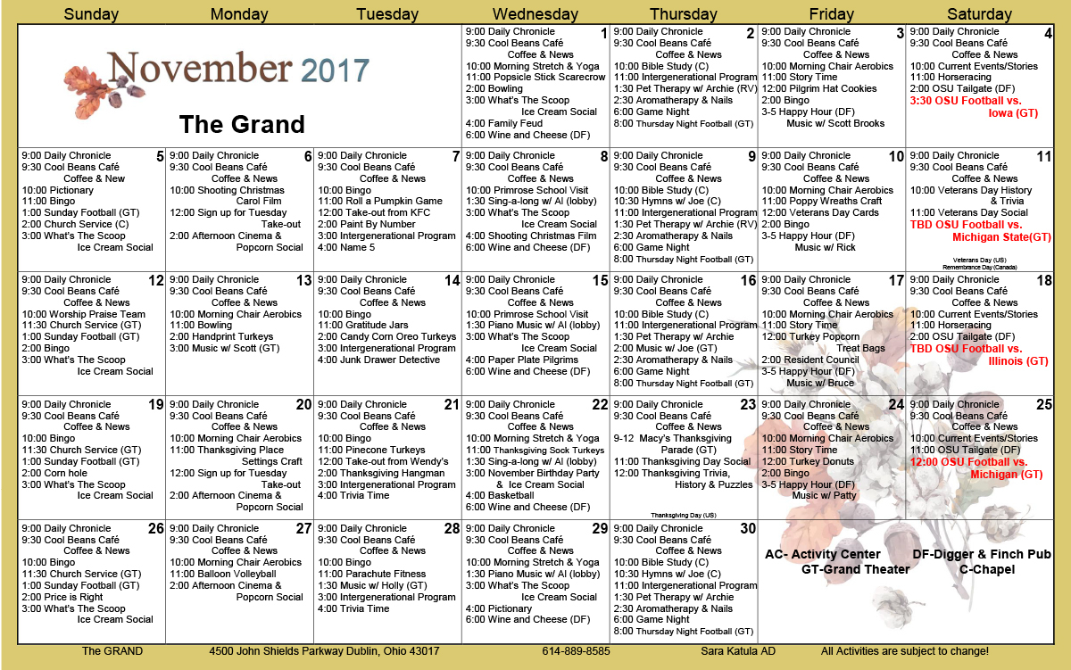 November 2017 Activities Calendars - The Grand With Sample Caendar For Assisted Living Facilities