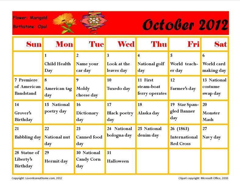 October Holiday Activity Calendar | Holiday Calendar, Holiday Activities, October Holidays in Every Holiday Calendr