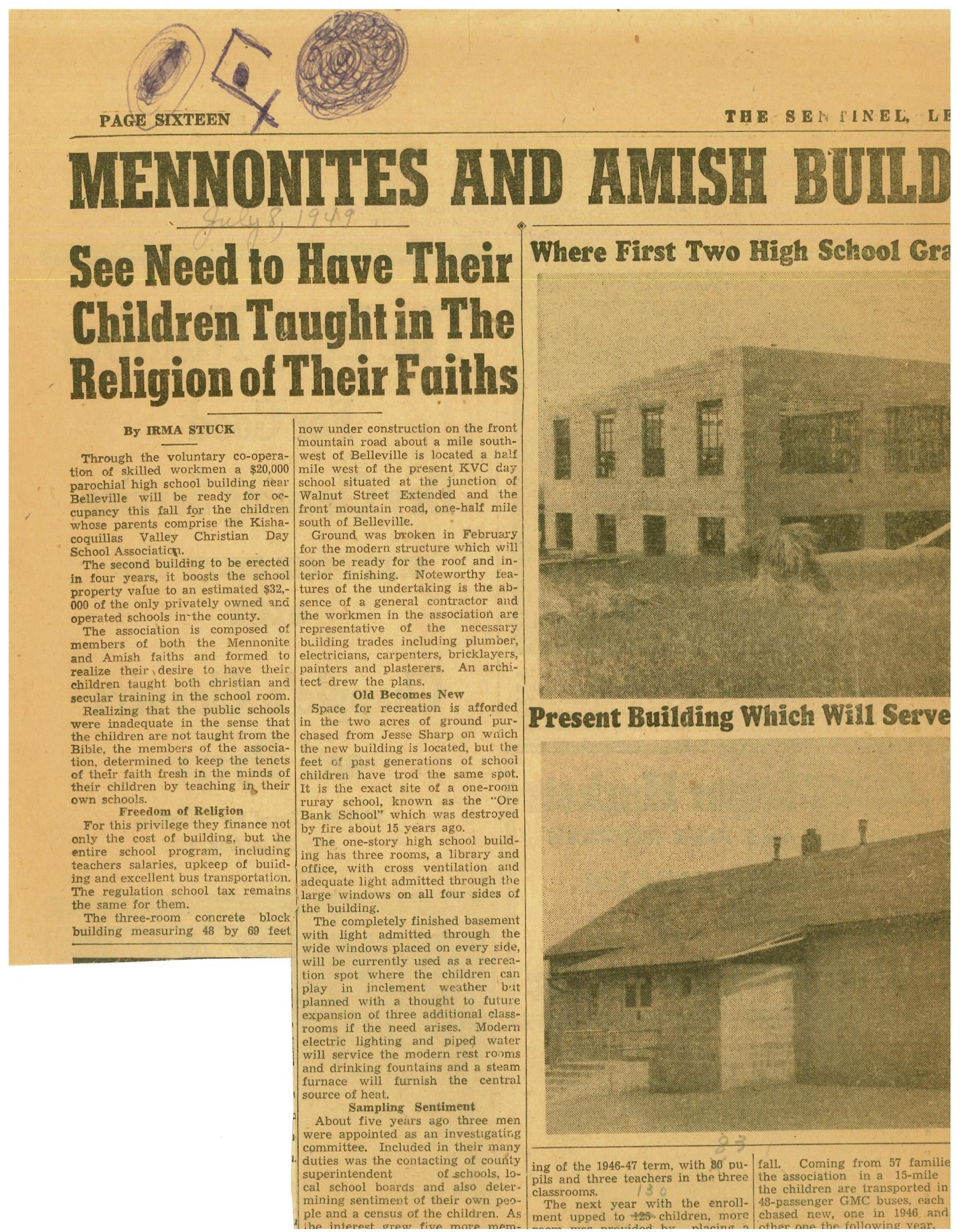 Old Newspaper Article. Belleville Mennonite School Intended For Calendar For Mifflin County School District In Pa