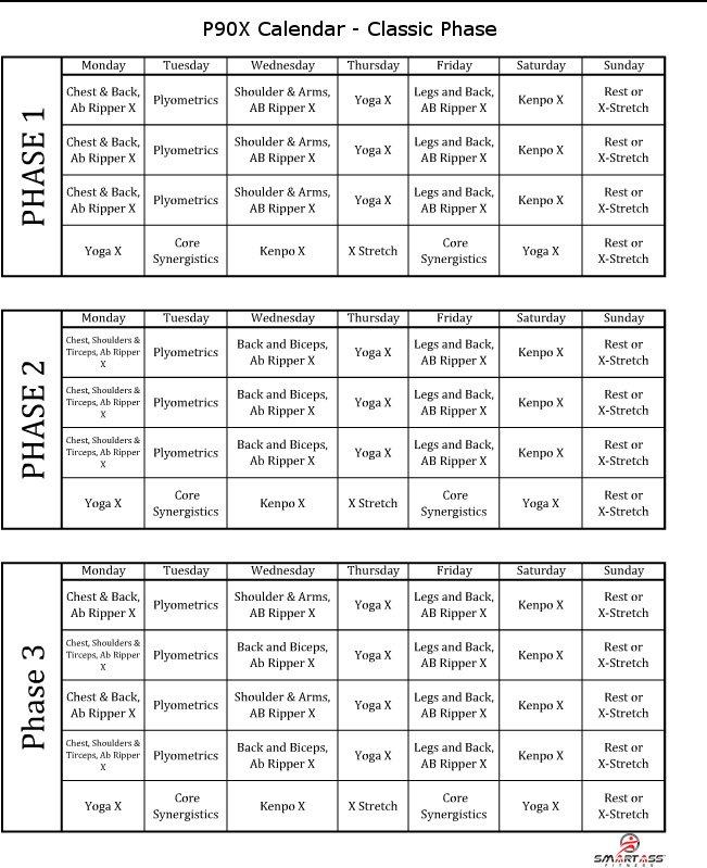 P90X Schedule   Smart Ass Fitness Regarding 90 Day Calendar Pdf
