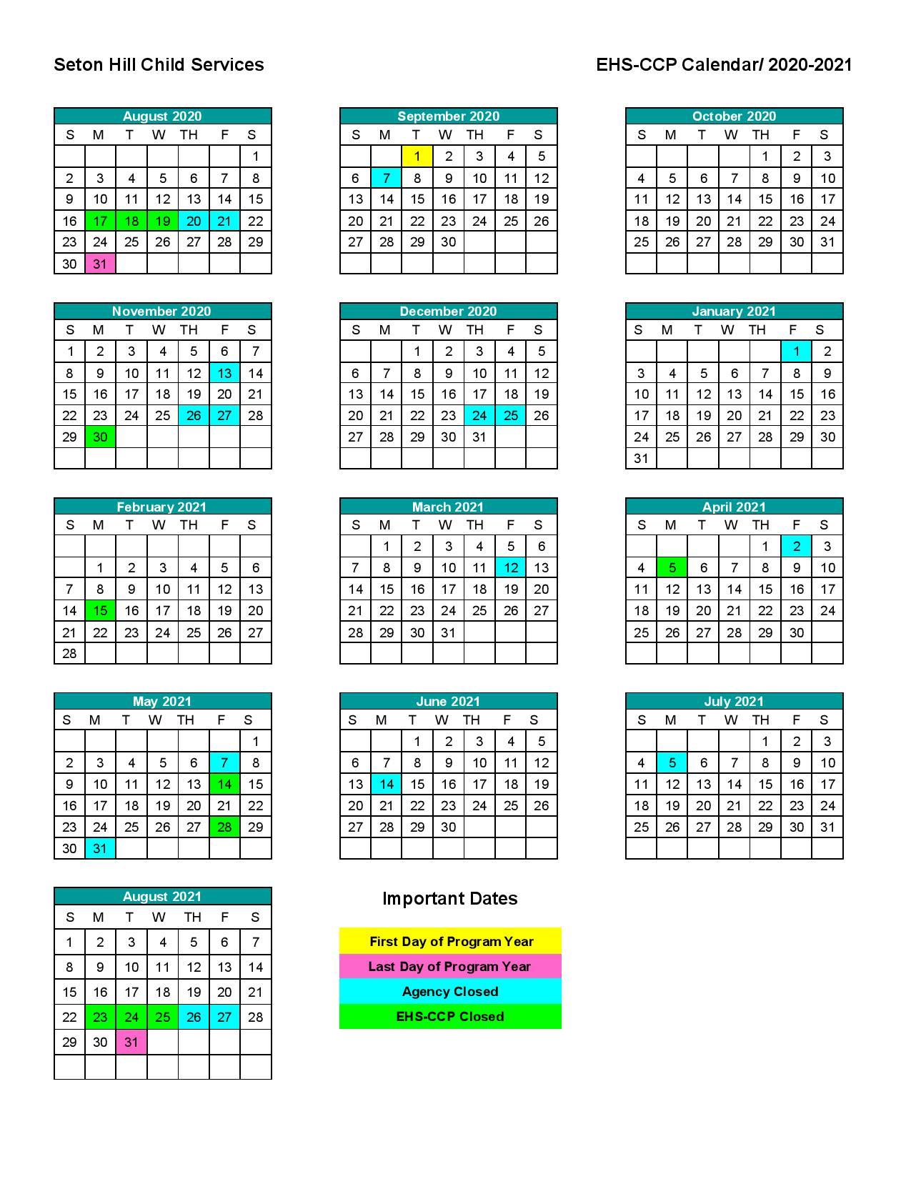 Parent Calendars - Seton Hill Child Services inside 454 Retail Calendar