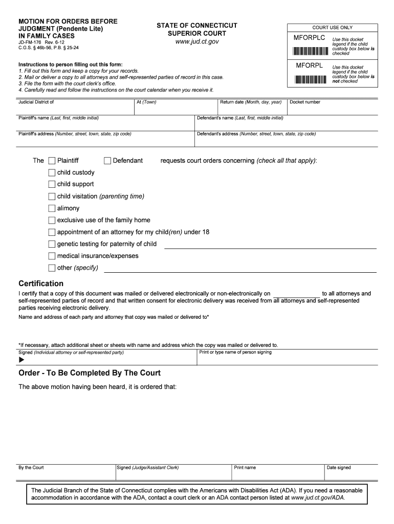 Pendente Lite Motion Forms - Fill Out And Sign Printable with regard to Court Calendar By Defendant Name