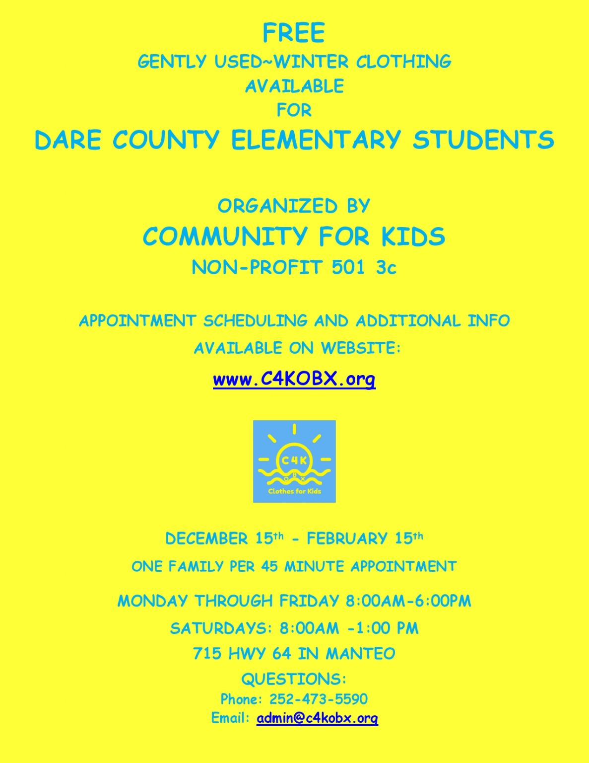 Podcast: Community For Kids Winter Clothes Drive Launches For Dare Elementary Students - 99.1 With Regard To Dare County School Calendar 2020 2021