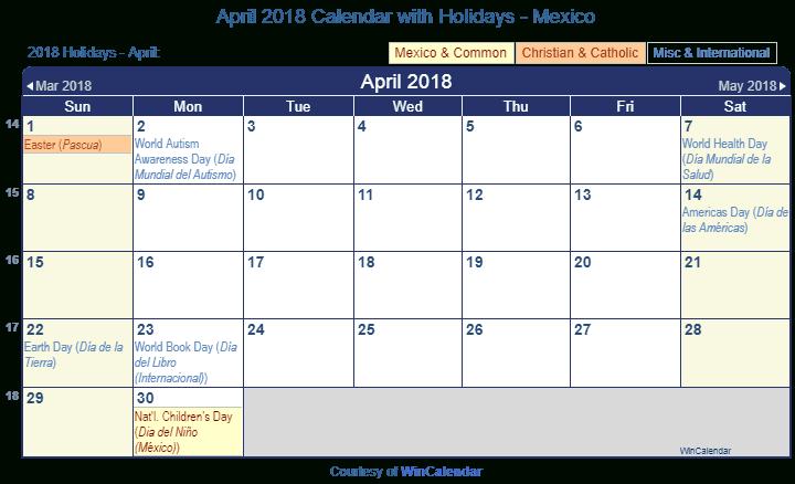 Print Friendly April 2018 Mexico Calendar For Printing For Mexican Caladener Names