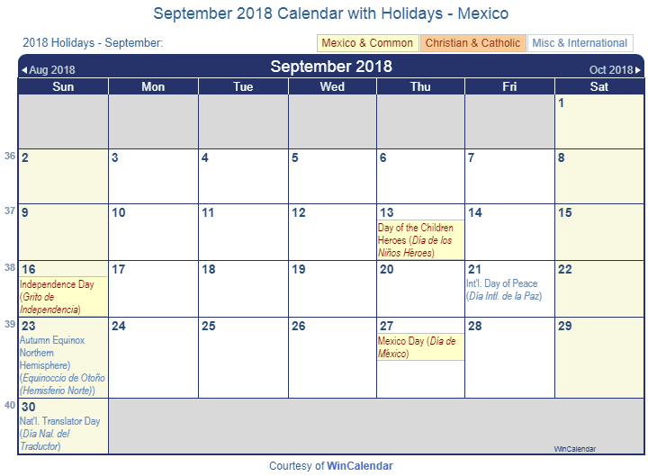 Print Friendly September 2018 Mexico Calendar For Printing Intended For Mexican Calendar Names