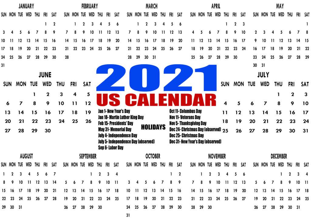 Printable 2021 Us Calendar With Holidays, Federal, Bank Within Every Day Is A Holiday Calendar 2021 Printable