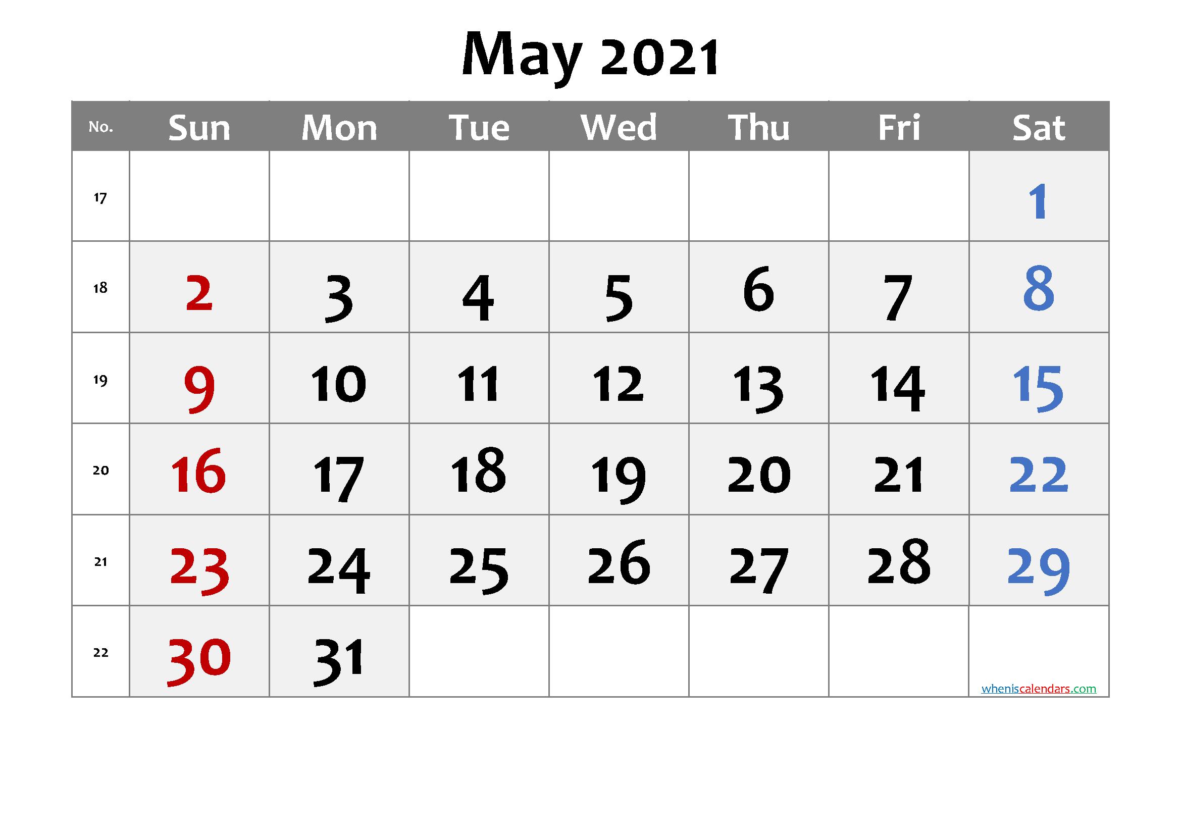 Printable May 2021 Calendar Template - Pdf, Word, Excel Regarding Convert Excel Into Word Calendar