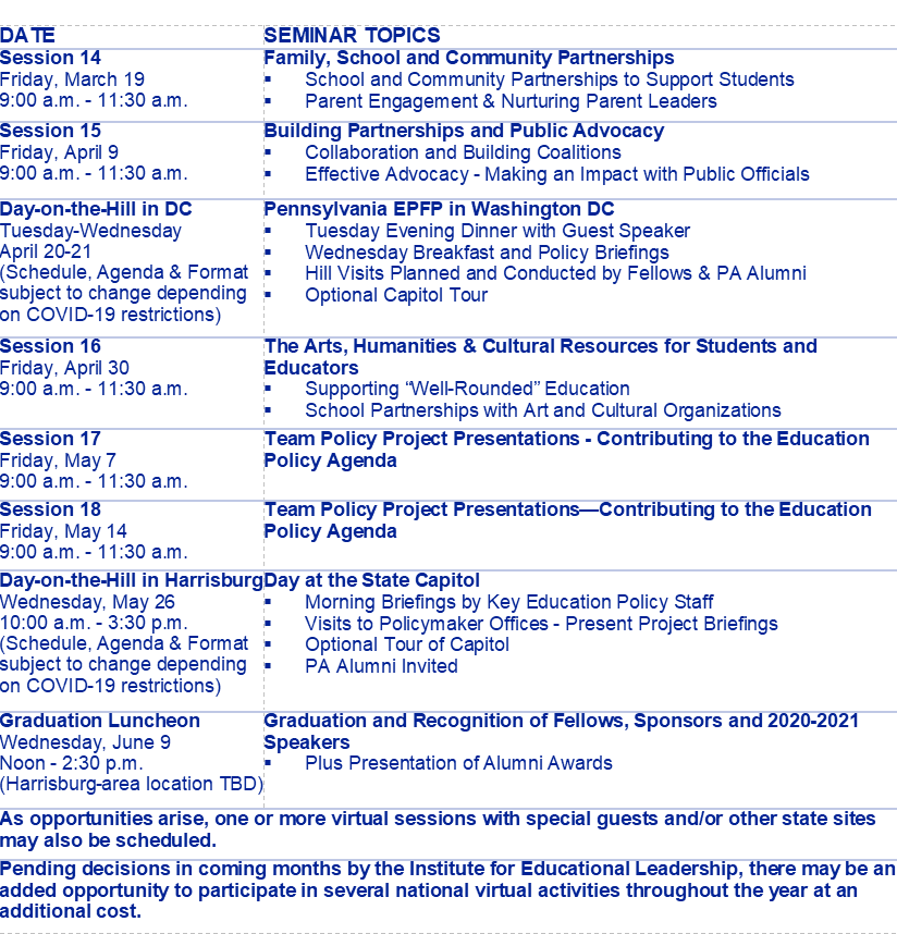 Program Schedule | Eplc – The Education Policy And For Mnps 2021 Printable