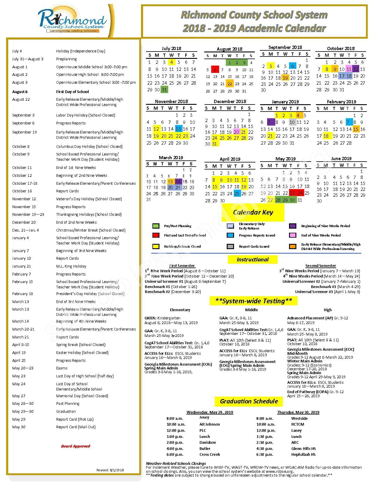 Richmond County School District Calendars – Augusta, Ga Inside Aikencounty Publicschool District Calendar