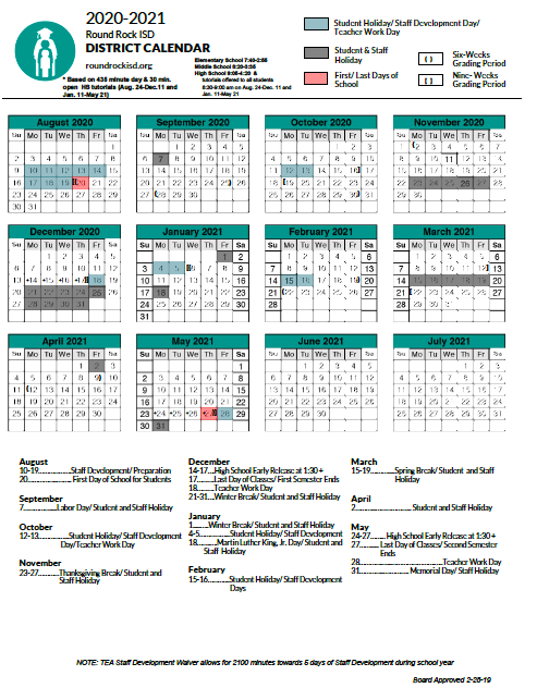 Round Rock Isd Calendar 2021 2022 | Printable March In Texas Tech School Calendar 2020 2021
