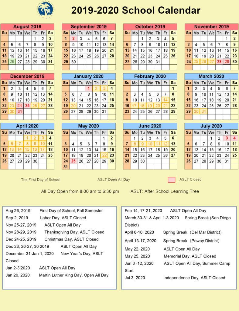 San Diego School Calendar 2021 | Printable Calendar 2020 2021 Throughout Fayette County Ga Public Schools Calendar