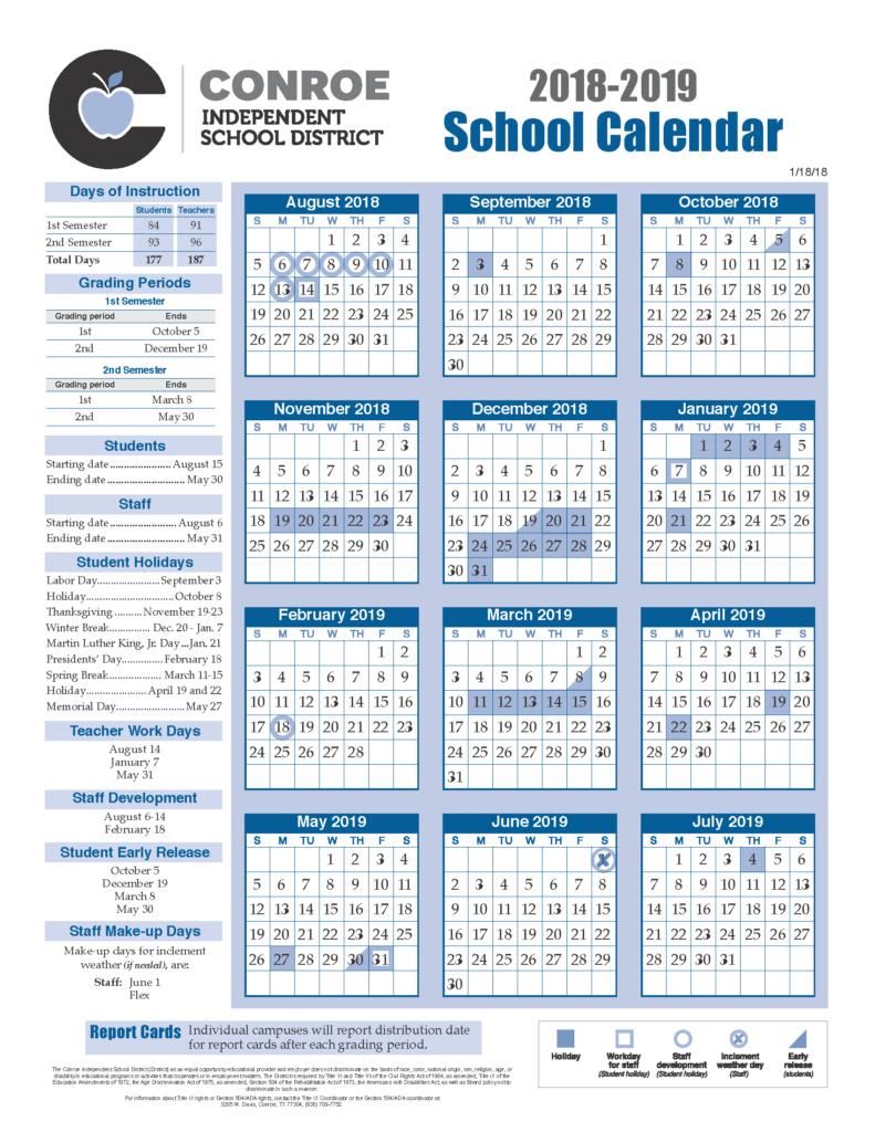 School Calendar Process - Conroe Isd For Texas Tech University Academic Calendar