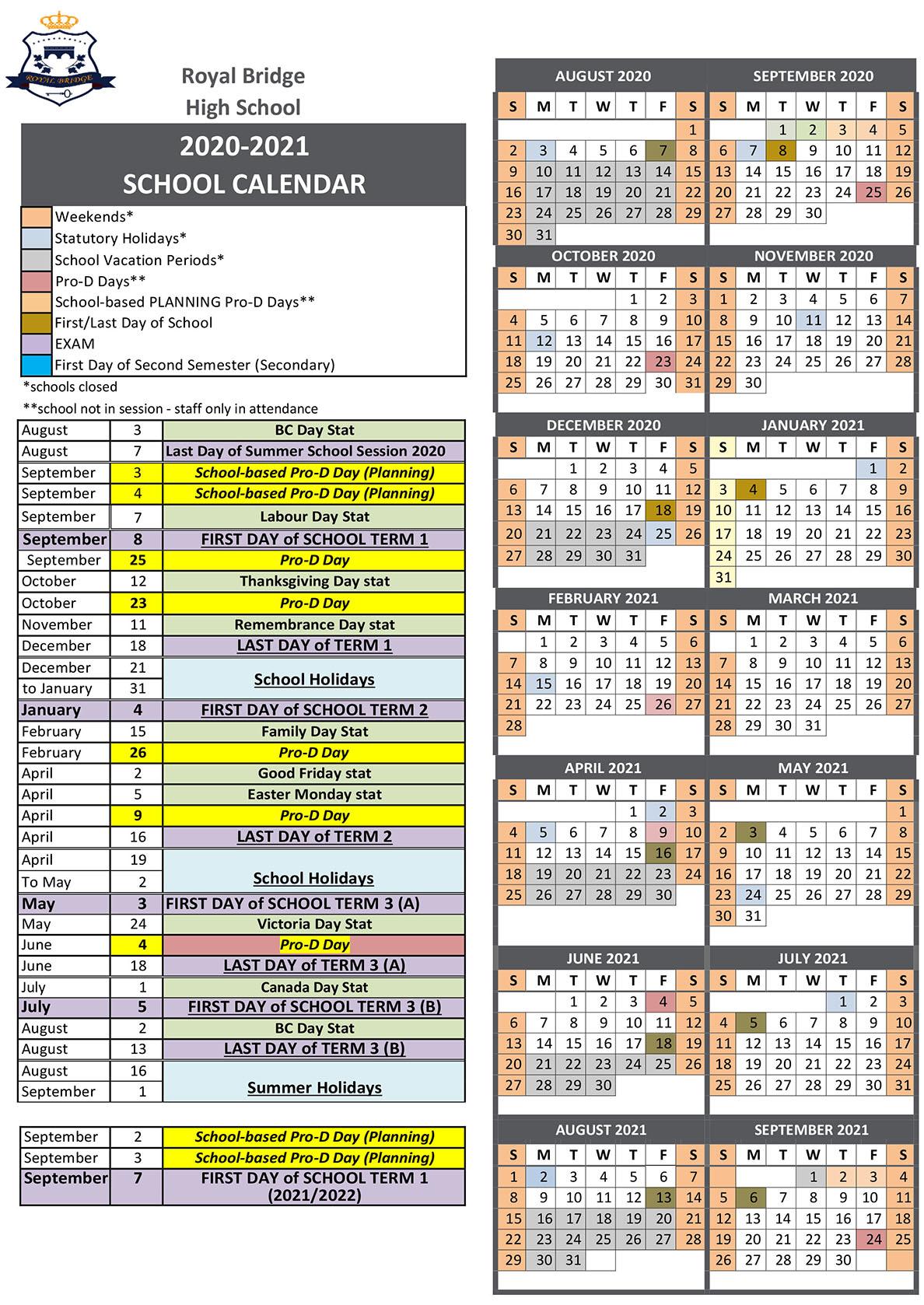 School Calendar - Royal Bridge High School Inside Sun City Hilton Head Calendar 2021
