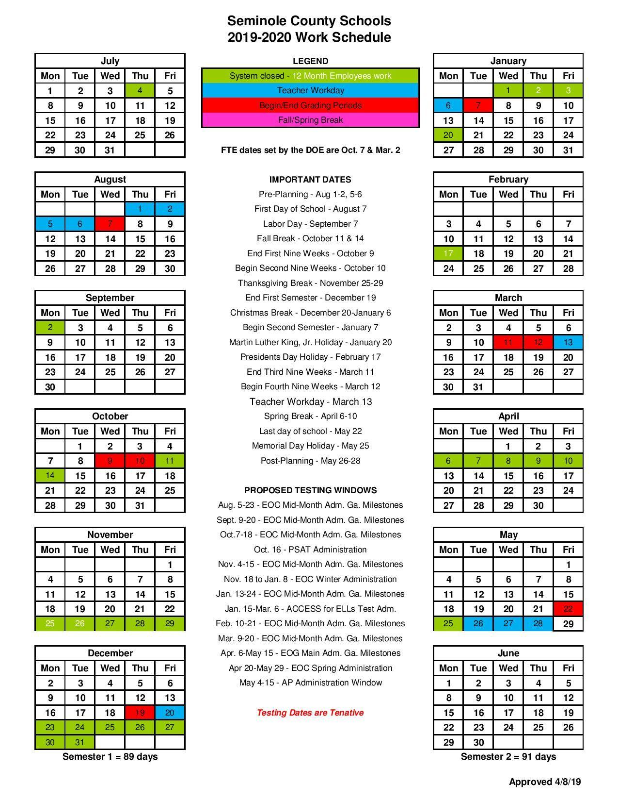 Seminole County Public Schools Calendar 2021 | 2021 Calendar with L Victorville School Distict Canlendar 2020-2021 For What Schools