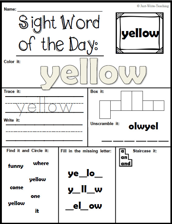 Sight Word Of The Day - Dolch Pre Primer - 40 Words, 80 Pertaining To Word Of The Day Pfrint
